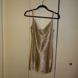 *TOPSHOP*Gold shimmer dress